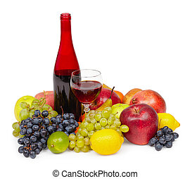 Still life - bottle of red wine, glass and fruit on white -...