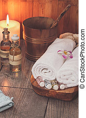 Spa set. Various items used in spa