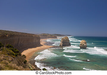 Limestone stacks in Port Campbell National Park, Great Ocean...