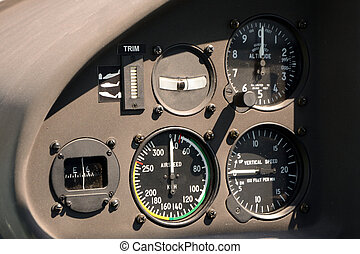 Flight instruments in airplane cockpit