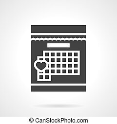 Loving day in calendar black design vector icon
