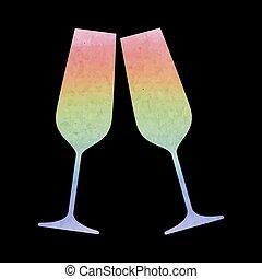 Sparkling champagne glasses - Conceptual vector illustration...