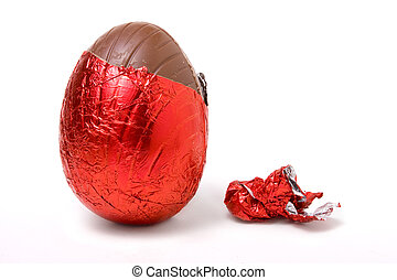 Foil Covered Egg - Red Foil wrapped chocolate easter egg...