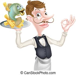 Cartoon Waiter Butler Fish and Chips - An Illustration of a...