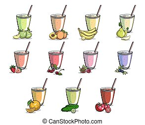 Set Of Smoothies - Set of different smoothies with cherry,...