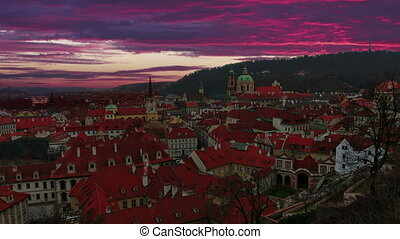 Magnificent sunrise in Prague Old Town