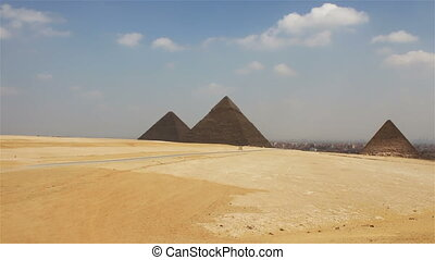 Pyramids on the background of Cairo