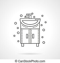 Washstand icon flat line design vector icon - Bathroom...