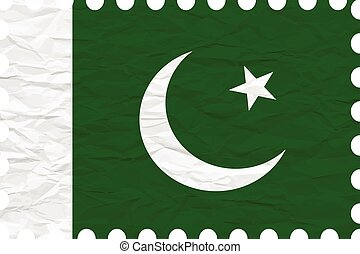wrinkled paper pakistan stamp, abstract vector art...