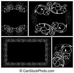 Set elegance cards - Set of floral elegance cards. Vector