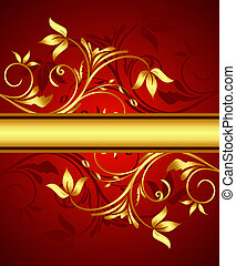 Golden floral background for design. Vector