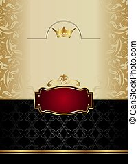 luxury gold wine label with emblem - Illustration luxury...