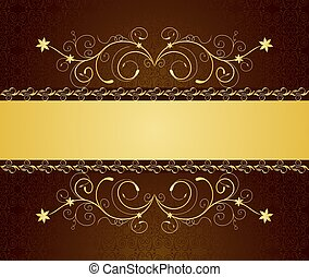 Illustration gold floral greeting cards and invitation -...