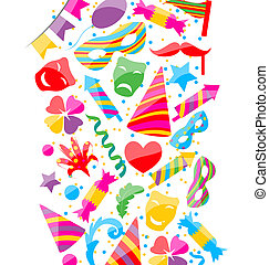 Festive background with carnival and party colorful icons...