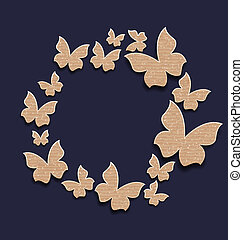 circle frame with butterflies made in carton paper -...