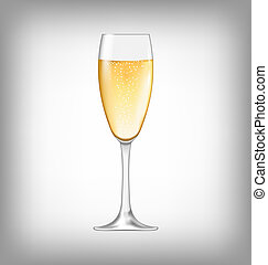 Realistic Glass of Champagne Isolated - Illustration...