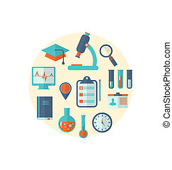 Concept of management medical science research, set flat...