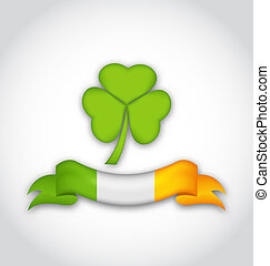 Clover with ribbon in traditional Irish flag colors for St....