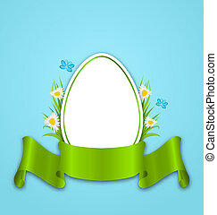 Easter paper egg with flowers daisy, grass, butterfly and...