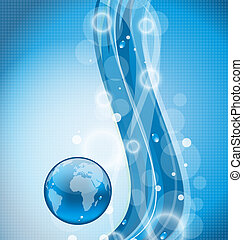 Illustration wavy water background with earth planet -...