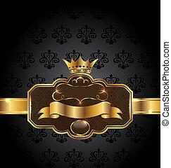 Vintage golden emblem on black floral background -...
