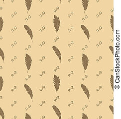 Illustration Seamless Pattern of Feathers with Ornate...