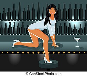 sexy girl in night club - Illustration sexy girl in night...