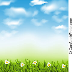 Spring natural background with blue sky, clouds, grass field and flowers chamomiles