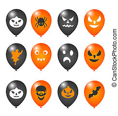Colorful balloons for Halloween party - Illustration...