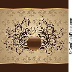 gold floral packing, design element - Illustration gold...