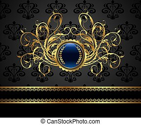 gold vintage frame for design packing - Illustration gold...