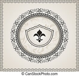 cute background with heraldic element - Illustration cute...