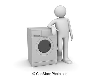 Man leaning on the washer - 3d isolated on white background...