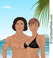 young couple on the beach - Illustration young couple on the...