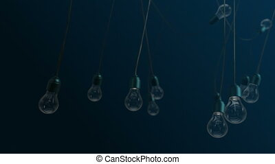 Idea concept with light bulbs on blue background - Idea...