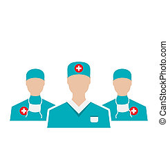 Icons set of medical employees in modern flat design style,...