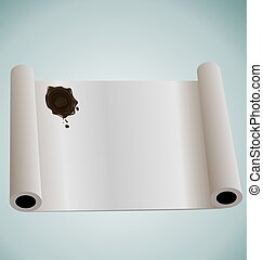 Illustration of paper roll with brown wax sealing - vector