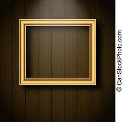 Vintage picture frame on wooden wall - Illustration vintage...