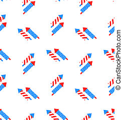 Seamless Texture Rocket for Independence Day - Illustration...