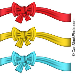 Collection colorful gift bows with ribbons - Illustration...