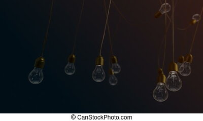 Idea concept with light bulbs on yellow background - Idea...