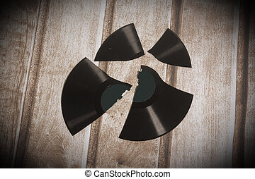 Broken long playing record, vintage background