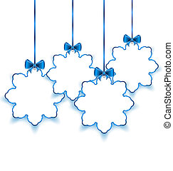 Set Christmas paper snowflakes with bows, isolated on white...