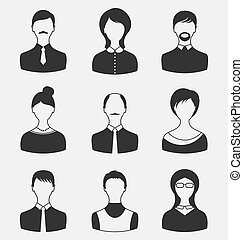 Set business people, different male and female user avatars...