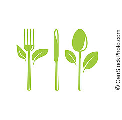 Healthy Food Icon with Cutlery and Leaves - Illustration...