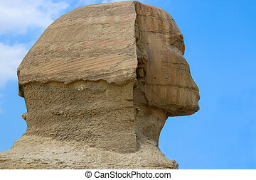 Sphinx head close-up. Giza Egypt.