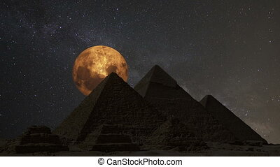 Supermoon over the great pyramids, Cairo, Egypt. Timelapse.
