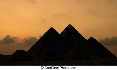 Sunrise over pyramids in Giza Egypt