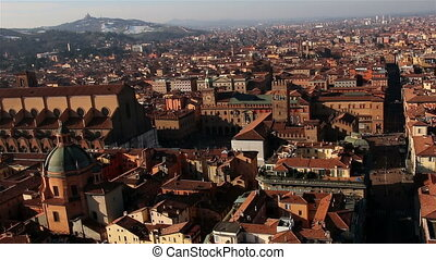 Panorama of old Bologna, Italy