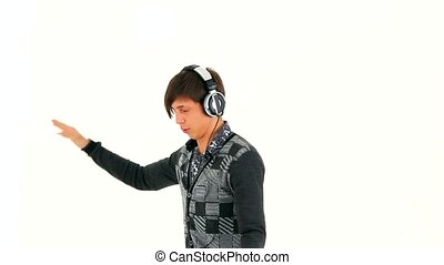 Young Man in Headphones Dancing